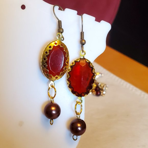 "1.5"" Bronze Hook Burgundy Oval Bead Dangle Earring"